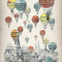 Voyages over Edinburgh Stretched Canvas by David Fleck | Society6