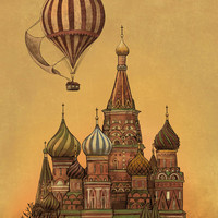 Moving to Moscow - revised Stretched Canvas by Terry Fan | Society6