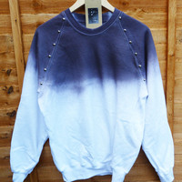 White with Charcoal Dip Tie Dye Studded Sweater Shirt Summer Fashion Jumper Studded Shoulders Oversize Vintage - Ready to Ship