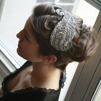 Bridal Beaded Deco Flapper Fascinator Cocktail Hat by lilyladyblue