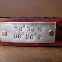 Latitude and Longitude Custom Leather Keychain