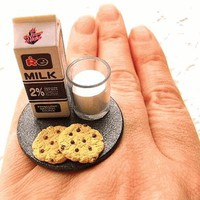 Chocolate Chip Cookies and Milk Miniature Food Ring