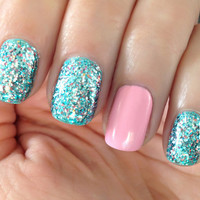 Little Mermaid - Blue,Teal, Silver, Pink Prism Glitter Nail Polish