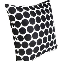 Black White Polka Dots Pillow Black White by PillowThrowDecor
