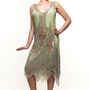 Green &amp; Silver Embroidered Reproduction 1920&#x27;s Flapper Dress - S to 2XL - Unique Vintage - Cocktail, Evening &amp; Pinup Dresses