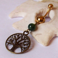 Gold Belly Button Ring - Piercing - Curved Barbell - Navel Piercing - Antiqued Brass Tree of Life Charm with Green Jade