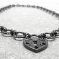 Black Padlock Choker Heart Gunmetal by GirlBurkeStudios on Etsy