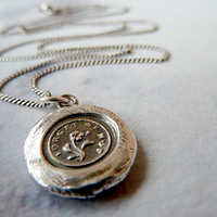 "Forget Me Not Mini Wax Seal Necklace. Recycled Fine Silver Victorian Pendant. 18"" Sterling Silver Curb Chain"