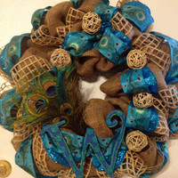 Burlap peacock feather wreath