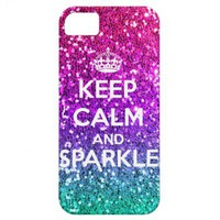 Keep Calm and Sparkle Glitter LookLike Rainbow iPhone 5 Cases from Zazzle.com