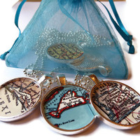 Personalized Map Necklace Pendants for Bridal Party, Bridesmaids or Maid of Honor