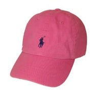 Polo Ralph Lauren Pony Logo Hat Cap Pink with Navy pony