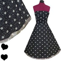 POLKA DOT Pinup FULL SKIRT Rockabilly 50s Party PROM Dress M Black White Swing