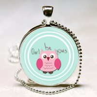 Pink owl be yours green glass 1 inch round necklace keychain woodland