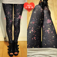 Women Nightsky Galaxy Stars Leggings Fashion Punk Tight Funky Slim Pants New