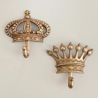 Antique Champagne Crown Metal Hooks, Set of 2