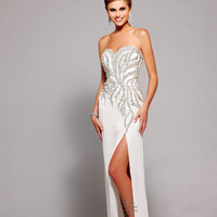 Faviana 2013 Prom - Ivory Strapless Satin & Chiffon Prom Dress - Unique Vintage - Cocktail, Pinup, Holiday & Prom Dresses.