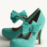 fresh lace bow heels at ShopRuche.com
