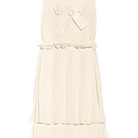See by Chloé Bow-embellished pleated chiffon dress - 50% Off Now at THE OUTNET