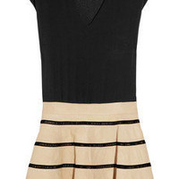 Jay Ahr | Silk and striped leather dress | NET-A-PORTER.COM
