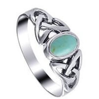 Sterling Silver 7mm Reconstituted Turquoise Celtic Knot Band Ring Size 4, 5, 6, 7, 8, 9: Jewelry: Amazon.com