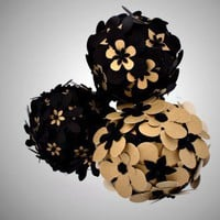 Handmade Black and Gold Decorative Orbs Set of 3 Spheres | FluenteDesigns - Housewares on ArtFire
