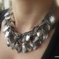 Double Strand Scale Statement Necklace Aluminum by JSWMetalWorks