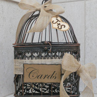 Birdcage Wedding Card Holder / Rustic Burlap Wedding Card Box