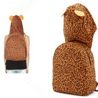 Leopard Ears Hooded Backpack on Luulla