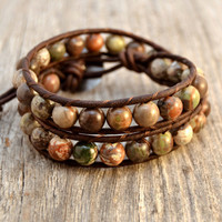 Natural earth tone beaded bracelet. Rustic double wrap hippie bracelet