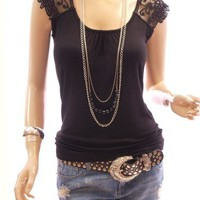 Patty Women Cute Floral Lace Crochet Shoulder Sleeveless Casual Blouse Top