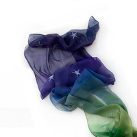 Hand painted silk scarf -OMBRE stars scarf- green to violet with silver stars-woman fashion