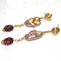 Freshwater Pearl Earring Cloud Pearl Pink Tourmaline Gold Vermeil Heart Earrings Valentine&#x27;s Day GIft Gemstone Jewelry