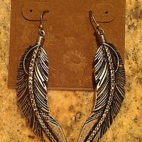 Lucky Brand Feather Drop Earrings Silvertone NEW