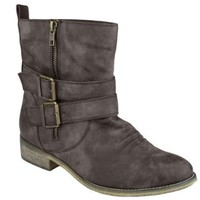 Amazon.com: Capelli New York Short Faux Leather With Zipper & Buckle Straps Details Ladies Boot Brown 6: Shoes