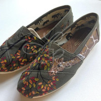 Natural colored giraffes- hand painted on TOMS shoes-made to order