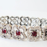 Siam Red Swarovski Crystal Silver Elastic Stretchy Bracelet/For Your Valentines