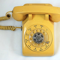 Yellow Rotary Dial Vintage Telephone Retro by TheNewtonLabel