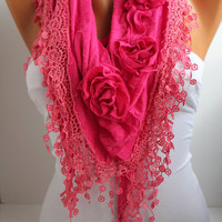 Pink Fushia Rose Cotton Shawl/ Scarf - Headband -Cowl with Lace Edge