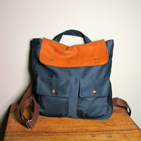 City Backpack in navy Canvas/ Brown Leather School Bag by HangaBag