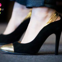 Wild Rose Linsy-01 Pointy Toe Cap Pump (Black) - Shoes 4 U Las Vegas