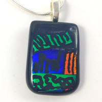 Fused Glass Necklace Etched Art on Dichroic Glassgreen blue copper doodle 204