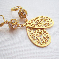 Gold Rhinestone Dangle Earrings Filigree Teardrop by earringsAND