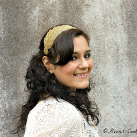 Gold Headband Beaded Grecian Goddess Leaf Headpiece for Women & Teens, Fashion Hair Accessories