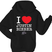 I Love Justin Bieber Hoodie Top - All Sizes and Colours - JB Signature Tops