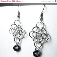 Chainmaille earrings, Silver and dark gray, Rosettes, Large