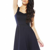 Navy Blue Sleeveless Skater Dress with Sweetheart Neckline