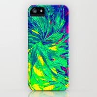 WEB OF LIES - Neon Vibrant Abstract Acrylic Painting Digital Deceit Spiderweb Manipulative Beauty iPhone Case by EbiEmporium | Society6
