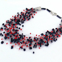 Red and Black Necklace. Multistrand Necklace. Beadwork. Beaded Jewelry