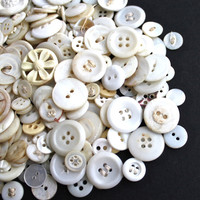 Vintage White Button Lot - Mother of Pearl, Lucite, & Bone / Button Findings